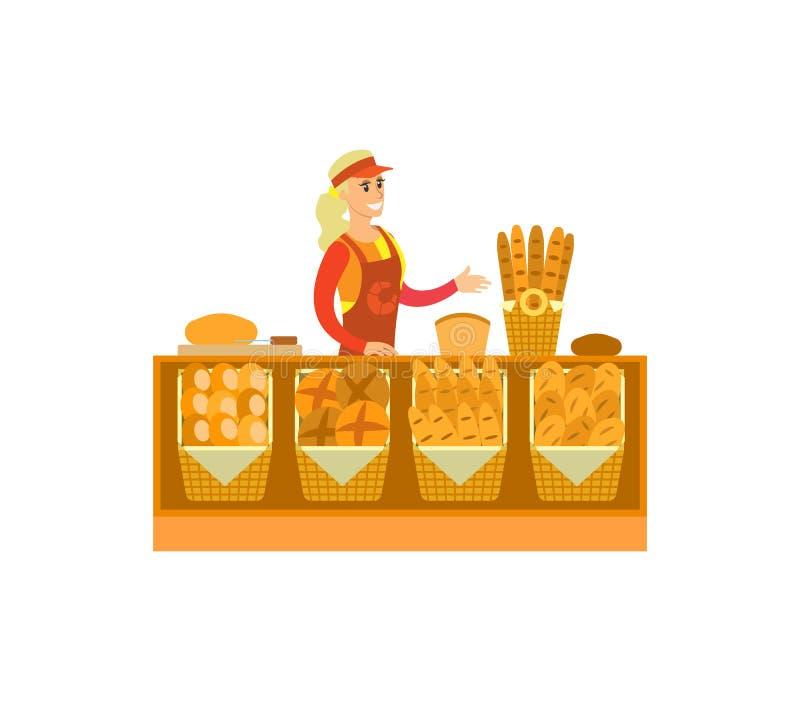Vector de la mujer del departamento de la panadería de la tienda del supermercado stock de ilustración