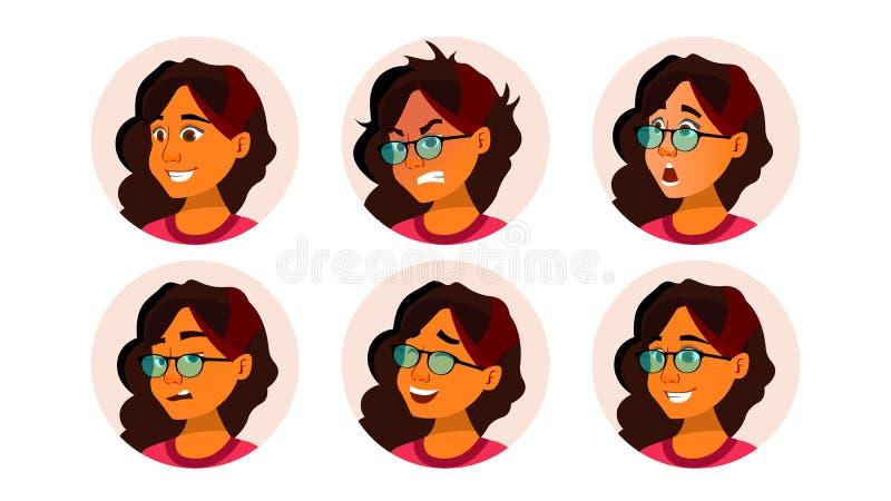 Vector de la mujer del icono de Avatar Placeholder del icono Srab, saudí Person Shilouette Retrato del usuario Ejemplo plano del  stock de ilustración