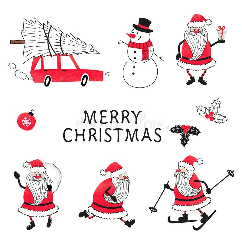Vector de la Navidad fijado con la acuarela Santa Claus ilustración del vector