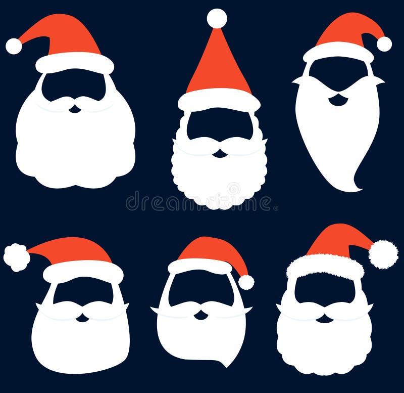 Vector de la Navidad fijado con los sombreros, la barba y los bigotes de Papá Noel ilustración del vector