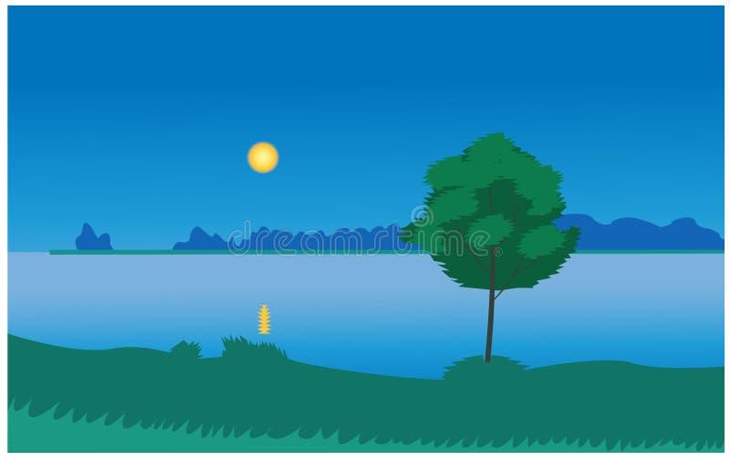 Vector de la noche del claro de luna stock de ilustración