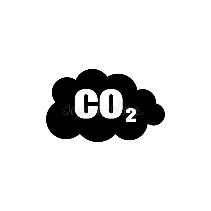 Vector de la nube del icono de las emisiones de CO2 plano fotografía de archivo