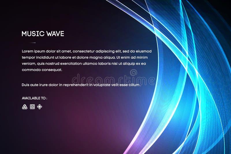 Vector de la onda acústica Vector la vibración de la voz de la música, el espectro digital de la forma de onda de la canción, el  stock de ilustración
