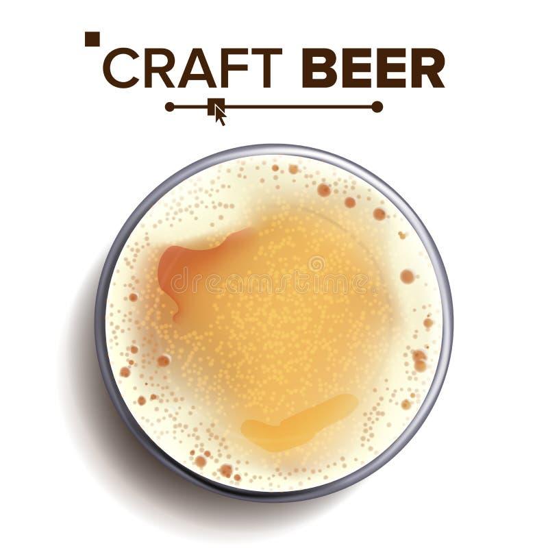 Vector de la opinión superior del vidrio de cerveza del arte Taza de cristal Bebida del alcohol con las burbujas de la espuma Par libre illustration