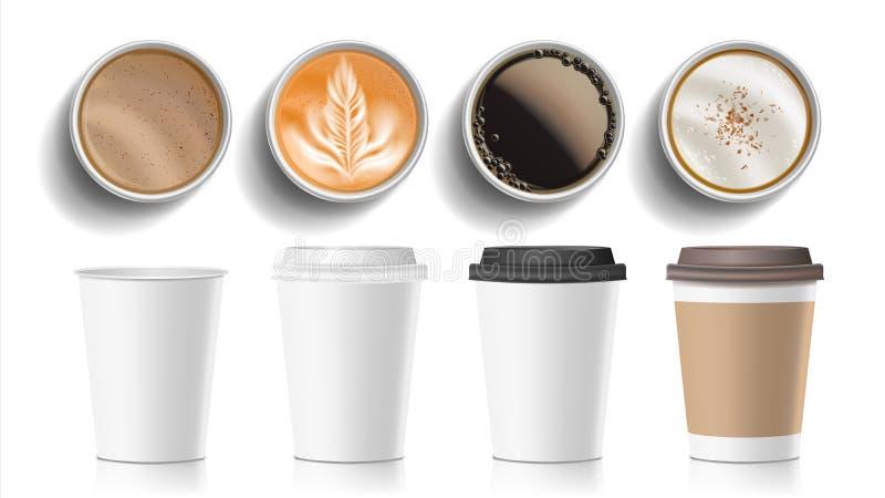 Vector de la opinión superior de las tazas de café El plástico, alimentos de preparación rápida vacíos blancos del papel saca las stock de ilustración