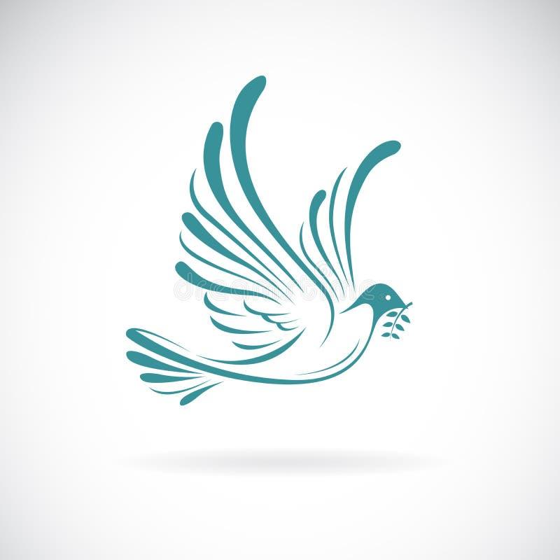 Vector de la paloma de la paz con la rama de olivo en el fondo blanco Dise?o del p?jaro Animales Ejemplo acodado editable f?cil d stock de ilustración