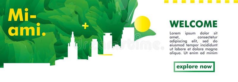 Vector de la pendiente de la ciudad del horizonte de los E.E.U.U. los Estados Unidos de América Miami libre illustration