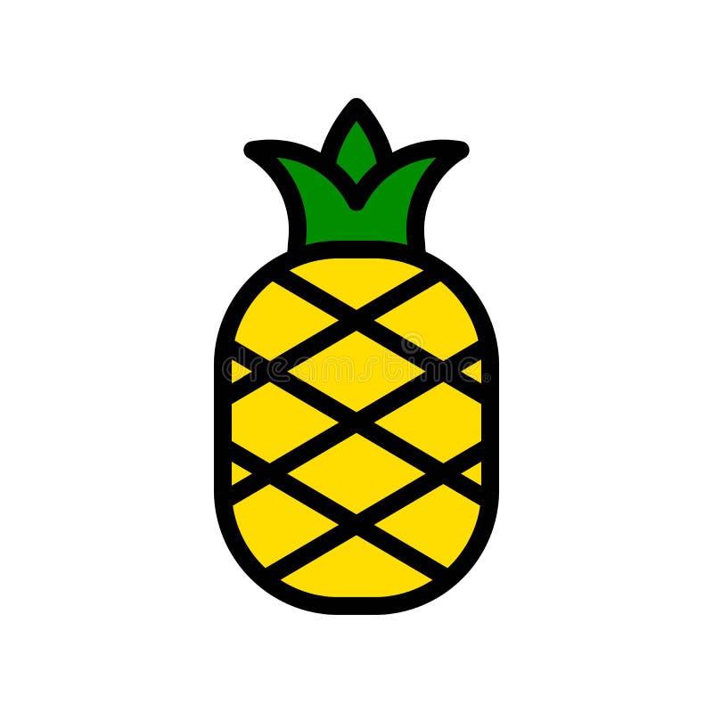 Vector de la piña, icono llenado relacionado tropical del estilo stock de ilustración
