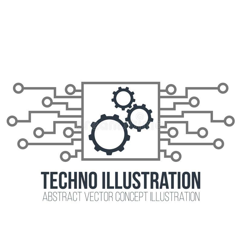 Vector de la placa de circuito en el fondo blanco Los engranajes, la ingeniería y la tecnología, la placa madre y el ordenador di stock de ilustración