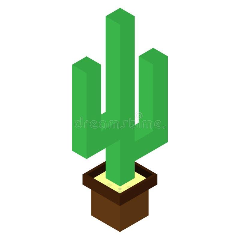 Vector de la planta 3d del cactus y diseño del ejemplo cactus aislado en potes en un fondo blanco Isometry libre illustration