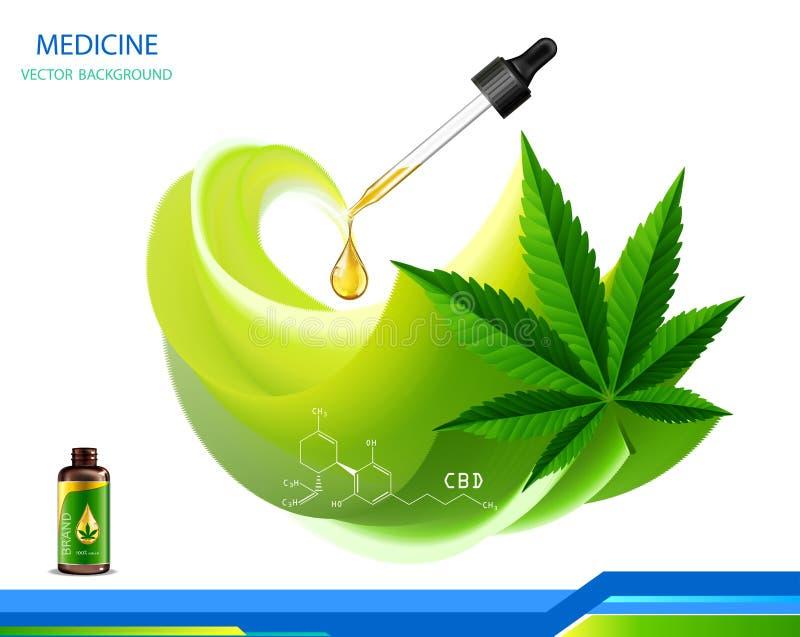 Vector de la planta de marijuana y de las botellas de aceite del c??amo libre illustration