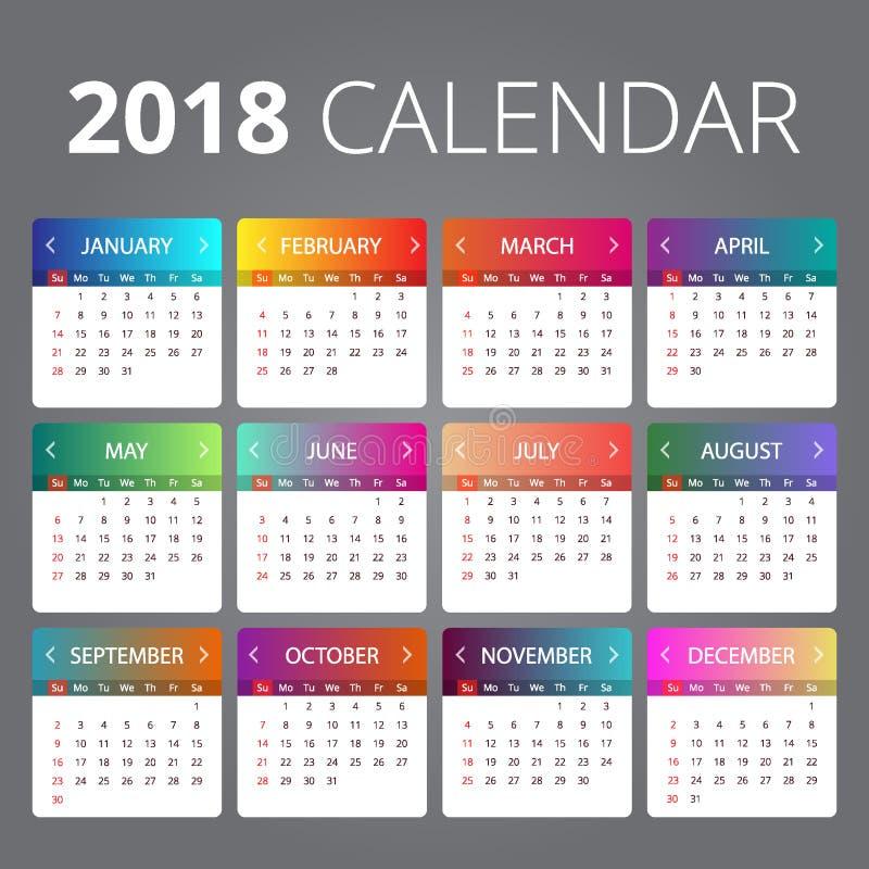 Vector de la plantilla de 2018 calendarios stock de ilustración