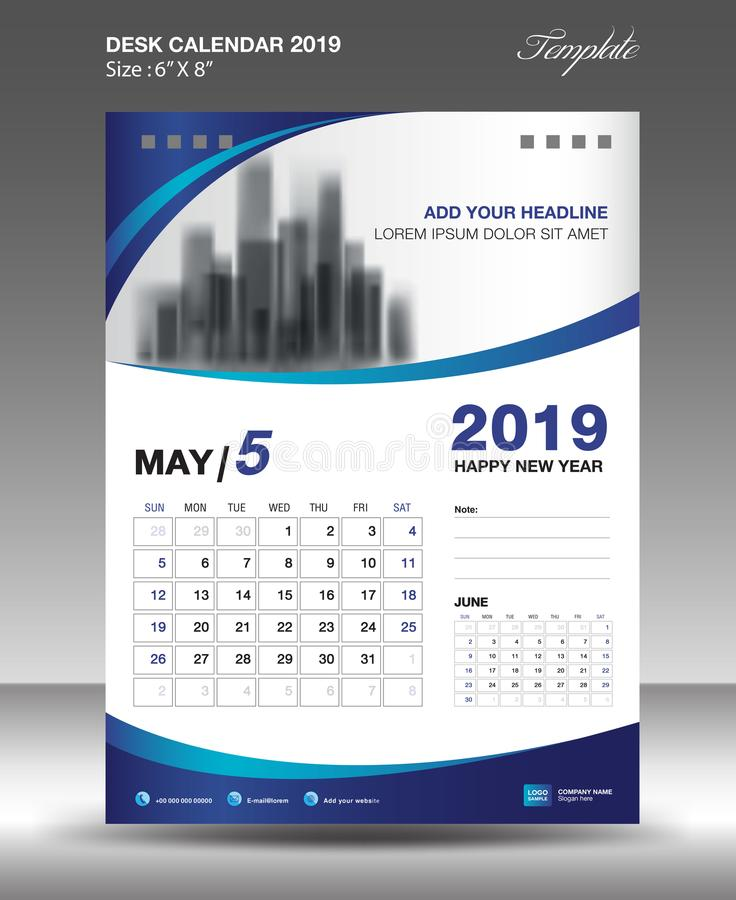 Vector 2019 de la plantilla del calendario de escritorio de MAYO ilustración del vector