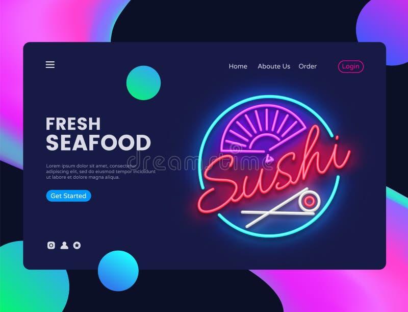 Vector de la plantilla del diseño de la bandera del sushi Interfaz de la bandera del web de los mariscos, señal de neón, diseño m stock de ilustración