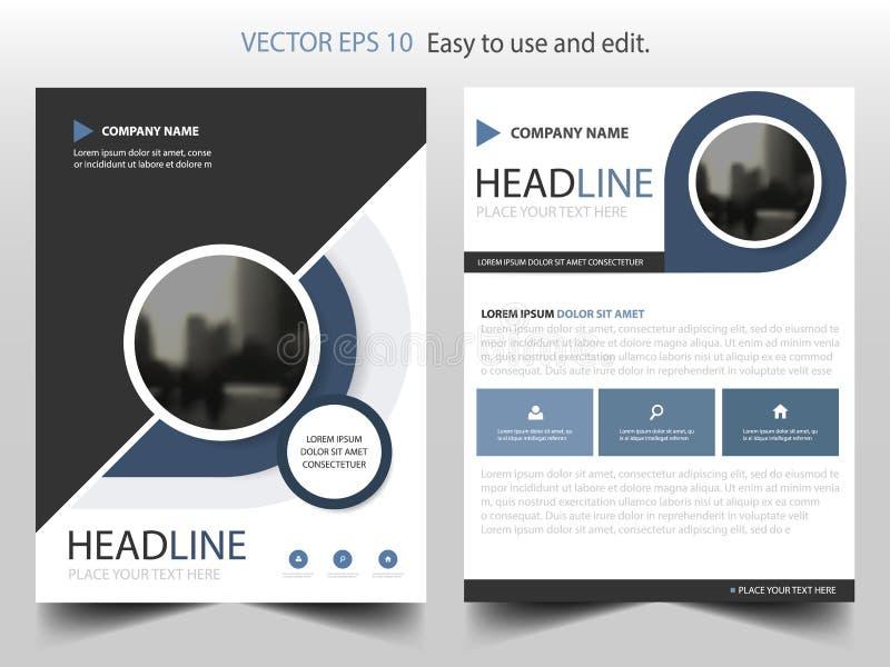 Vector de la plantilla del diseño del folleto del informe anual del negro azul Cartel infographic de la revista de los aviadores  stock de ilustración
