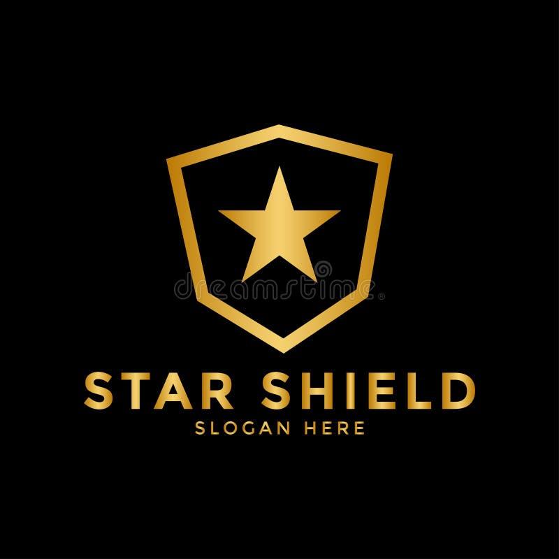 Vector de la plantilla del diseño del icono del logotipo del escudo de la estrella ilustración del vector
