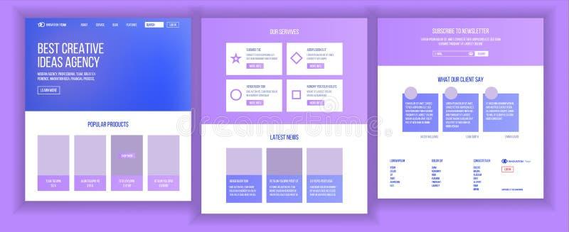 Vector de la plantilla del diseño del sitio web Aterrizaje del negocio Página web Tecnología de las TIC Progreso de la optimizaci libre illustration
