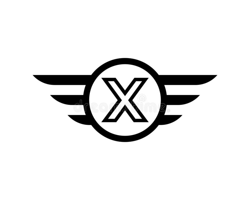 Vector de la plantilla del logotipo del ala del negro de la letra inicial X stock de ilustración