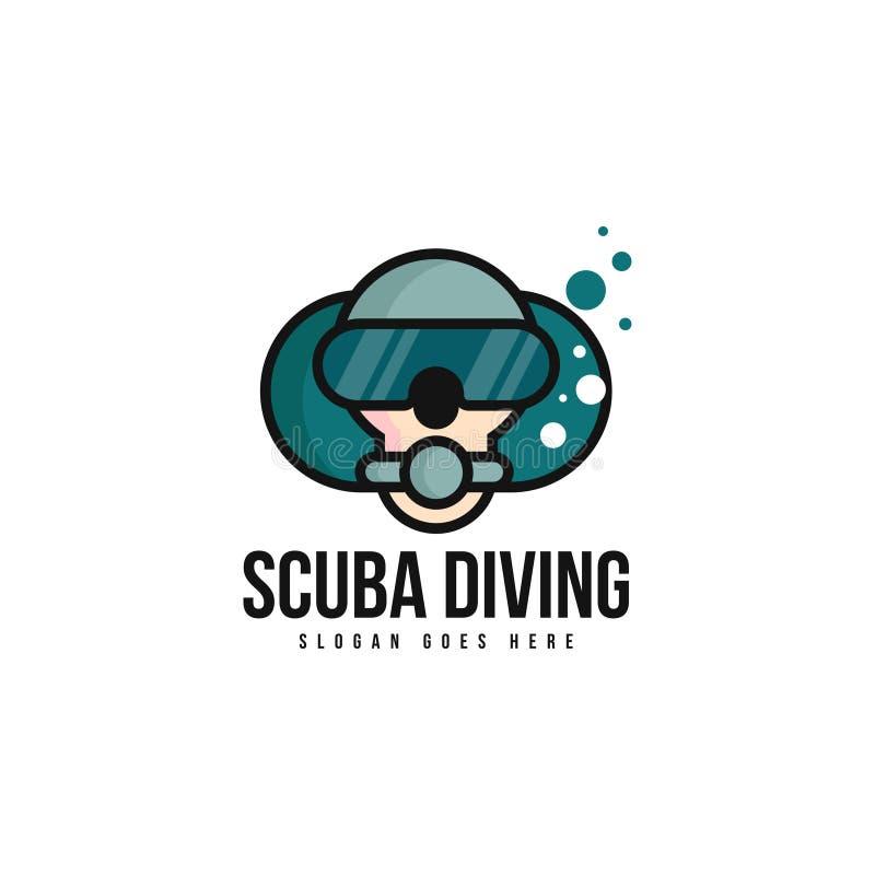 Vector de la plantilla del logotipo del buceo con escafandra Concepto del logotipo del buceador stock de ilustración