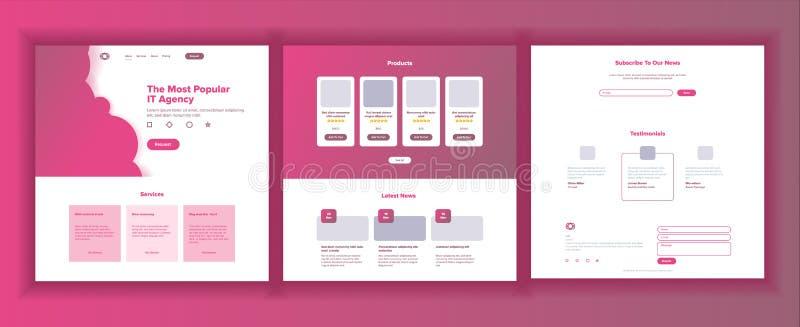 Vector de la plantilla del sitio web Aterrizaje del negocio de la página Página web Interfaz responsivo del diseño Comunicación d stock de ilustración