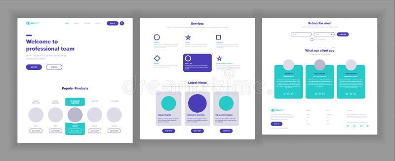 Vector de la plantilla del sitio web Interfaz del negocio de la página Página web del aterrizaje Diseño responsivo de Ux Espacio  libre illustration