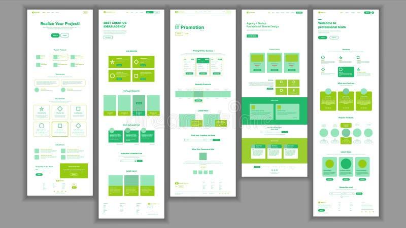 Vector de la plantilla del sitio web Interfaz del negocio de la página Página web del aterrizaje Diseño responsivo de Ux Espacio  stock de ilustración