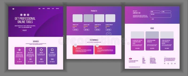 Vector de la plantilla del sitio web Tecnología del negocio de la página Página web del aterrizaje Disposición moderna creativa P stock de ilustración