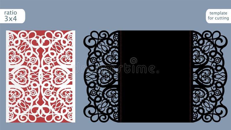Vector de la plantilla de la tarjeta de la invitación de la boda del corte del laser Corte la tarjeta con tintas de papel con el  libre illustration