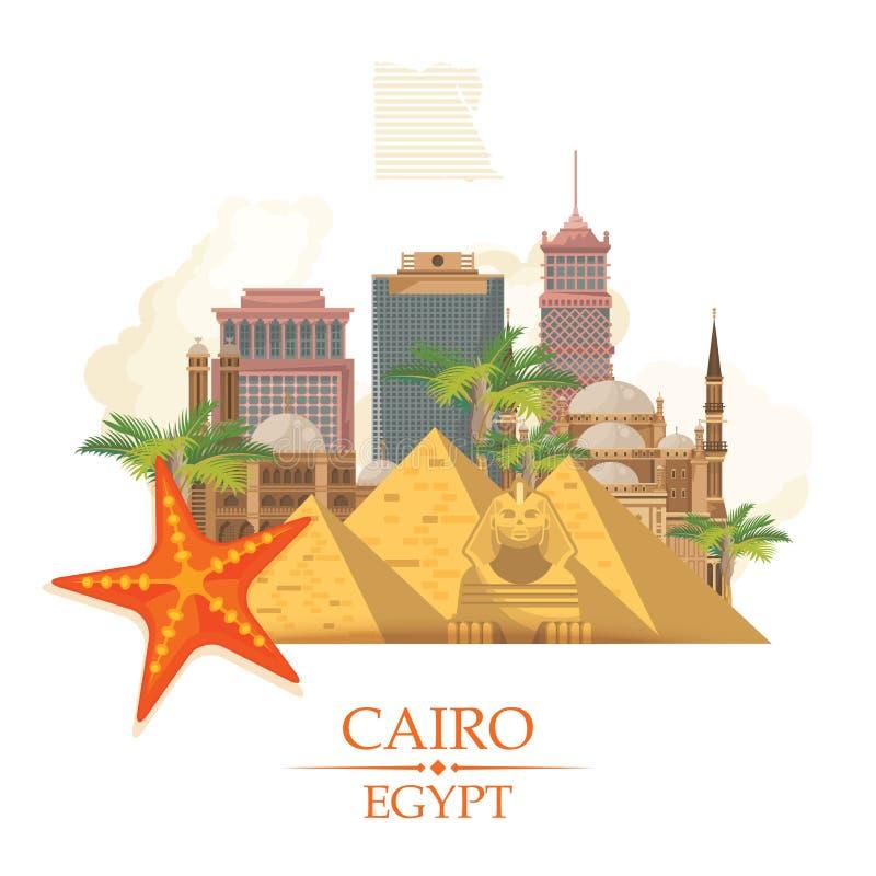 Vector de la publicidad de Egipto Estilo moderno Recepción a Egipto Iconos tradicionales egipcios en diseño plano Bandera del día stock de ilustración