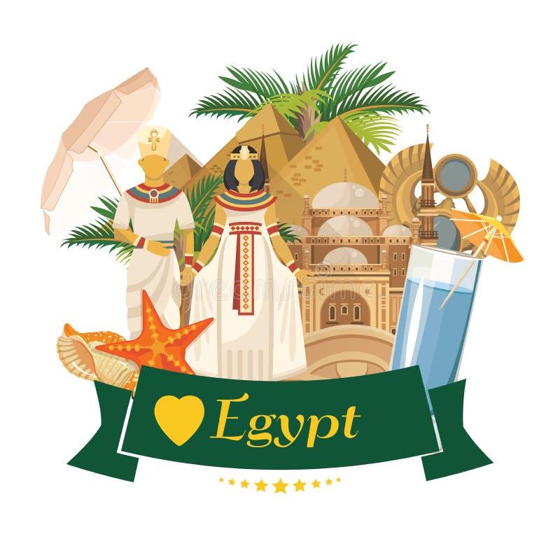 Vector de la publicidad de Egipto Iconos tradicionales egipcios en diseño plano Bandera del día de fiesta ilustración del vector