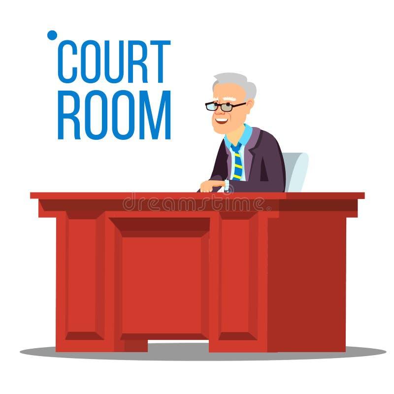 Vector de la sala de tribunal Viejo juez In Courtroom Palacio de Justicia Ilustración libre illustration