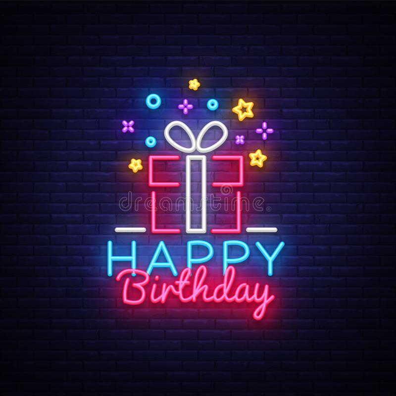 Vector de la señal de neón del feliz cumpleaños Señal de neón de la plantilla del diseño del feliz cumpleaños, enhorabuena, bande stock de ilustración