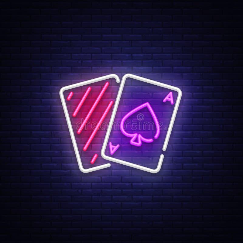 Vector de la señal de neón del póker Señal de neón de la plantilla del diseño del póker del casino, bandera ligera, letrero de ne stock de ilustración