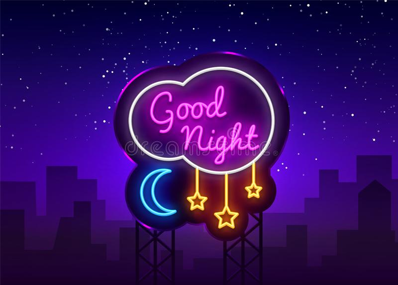 Vector de la señal de neón de las buenas noches Texto de neón de las buenas noches, plantilla del diseño, diseño moderno de la te stock de ilustración