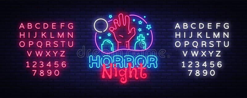 Vector de la señal de neón de la noche del horror Señal de neón de la plantilla del diseño del cartel de Halloween, bandera liger stock de ilustración