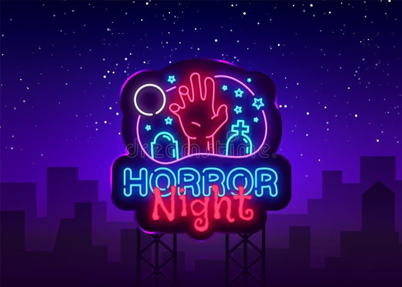 Vector de la señal de neón de la noche del horror Señal de neón de la plantilla del diseño del cartel de Halloween, bandera liger ilustración del vector
