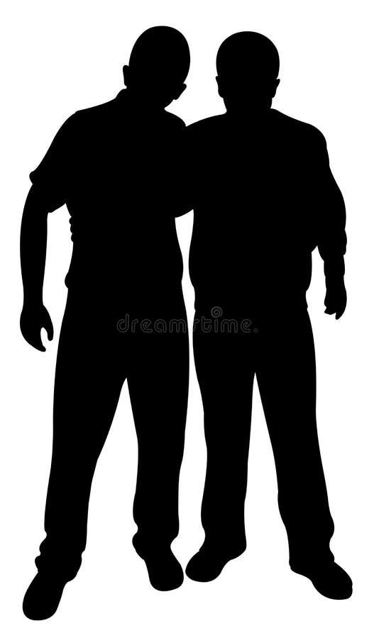 Vector de la silueta de dos amigos ilustración del vector