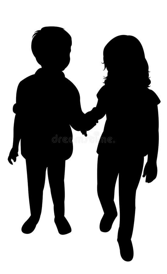Vector de la silueta de dos niños ilustración del vector