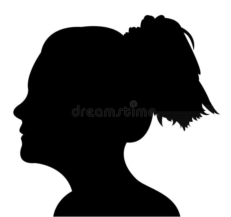 Vector de la silueta de la cabeza de la señora stock de ilustración