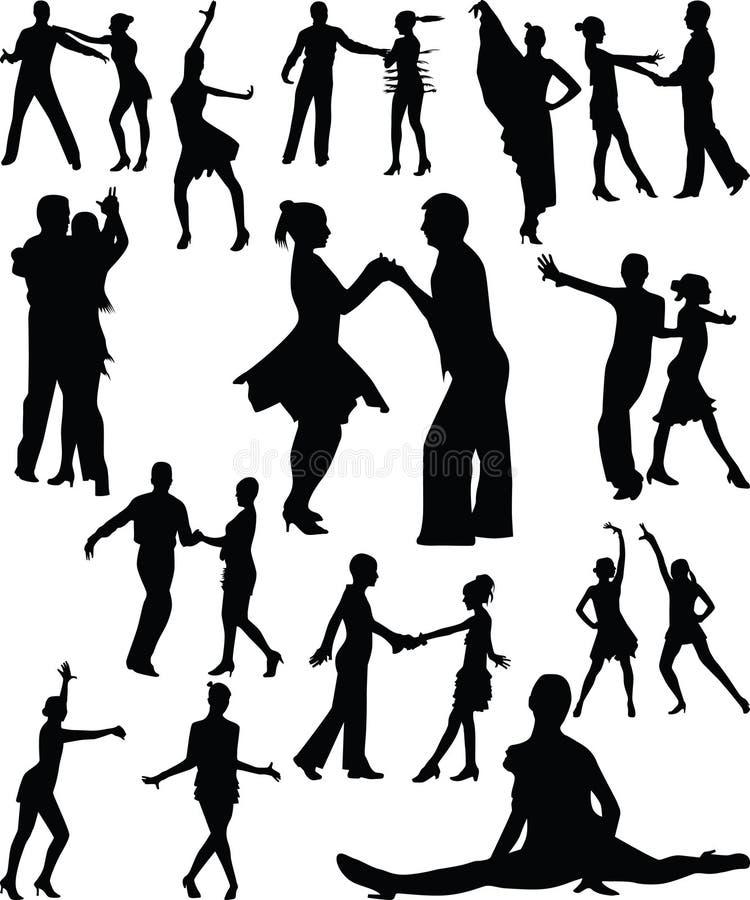Vector de la silueta de la gente de la danza stock de ilustración