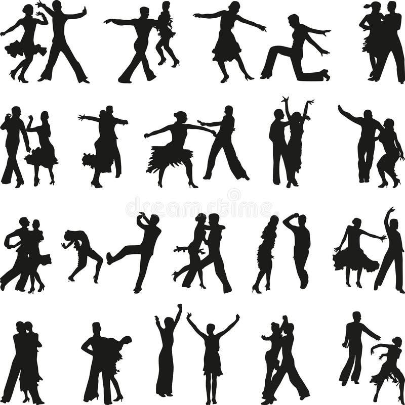Vector de la silueta de la gente de la danza libre illustration