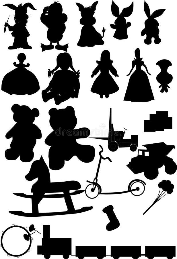 Vector de la silueta de los juguetes ilustración del vector