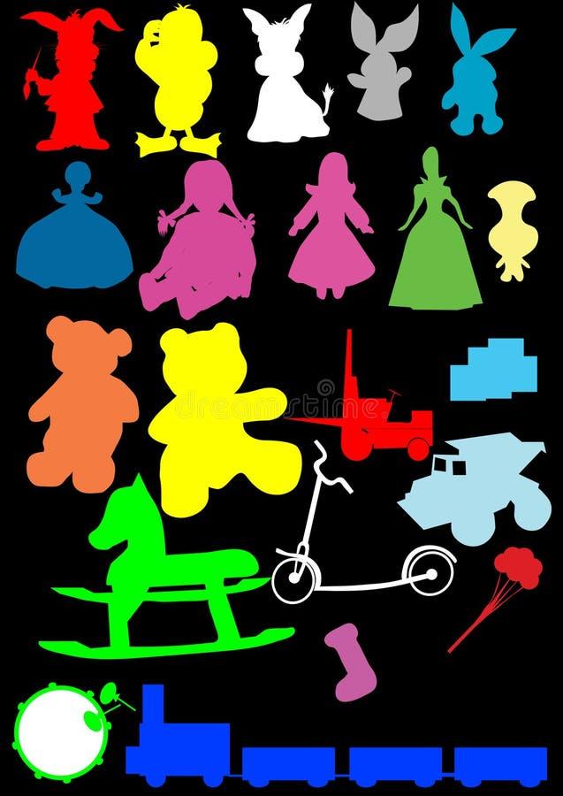 Vector de la silueta de los juguetes stock de ilustración