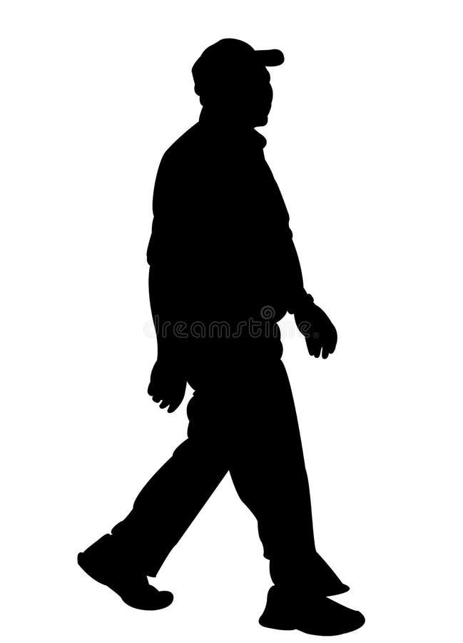 Vector de la silueta del cuerpo del viejo hombre que camina ilustración del vector