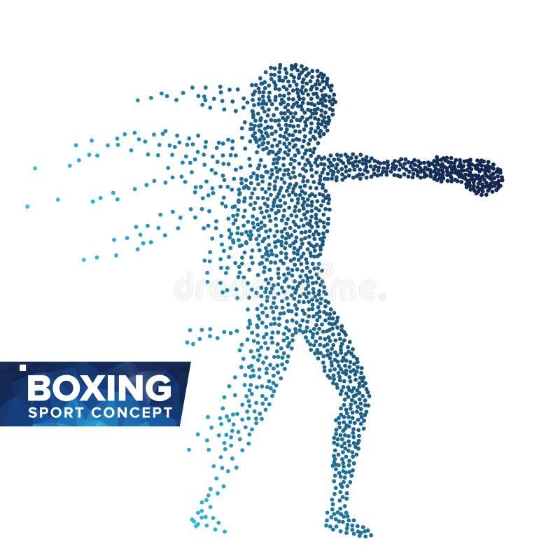Vector de la silueta del jugador del boxeo Puntos de semitono Atleta dinámico In Action del boxeo Partículas punteadas que vuelan ilustración del vector
