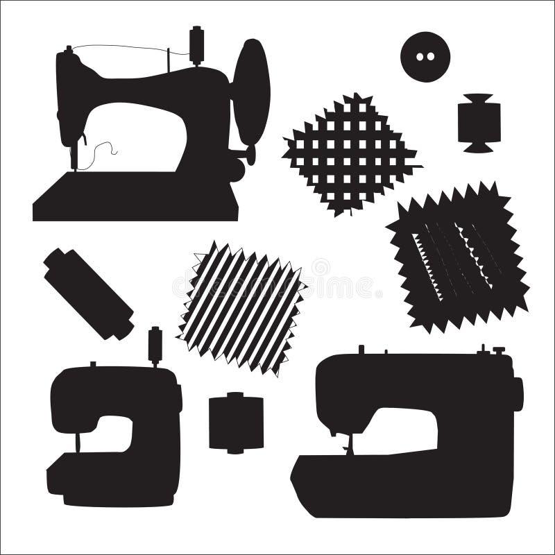 Vector de la silueta del negro del equipo de las máquinas de coser ilustración del vector