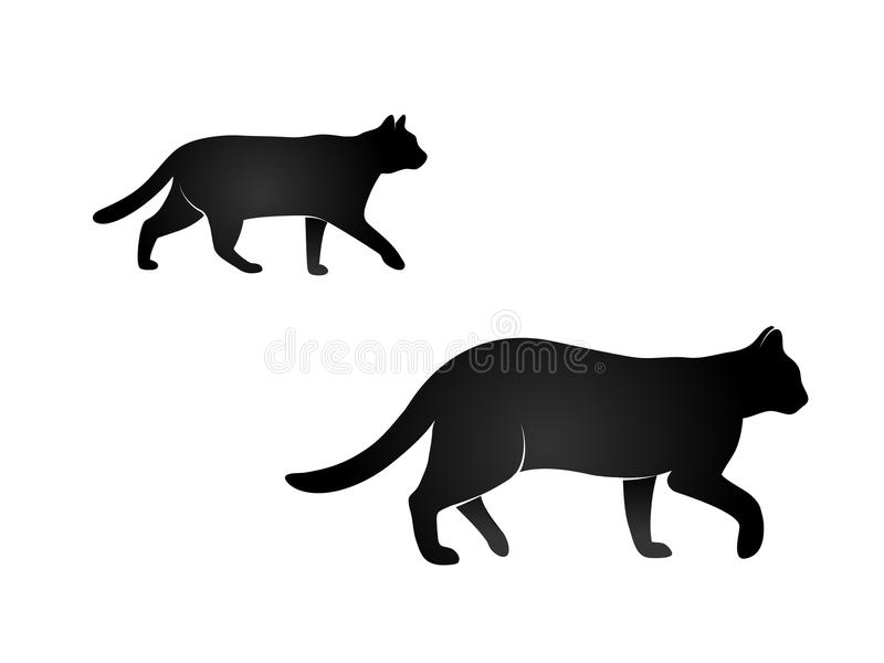 Vector de la silueta de los gatos que camina negros fotos de archivo libres de regalías