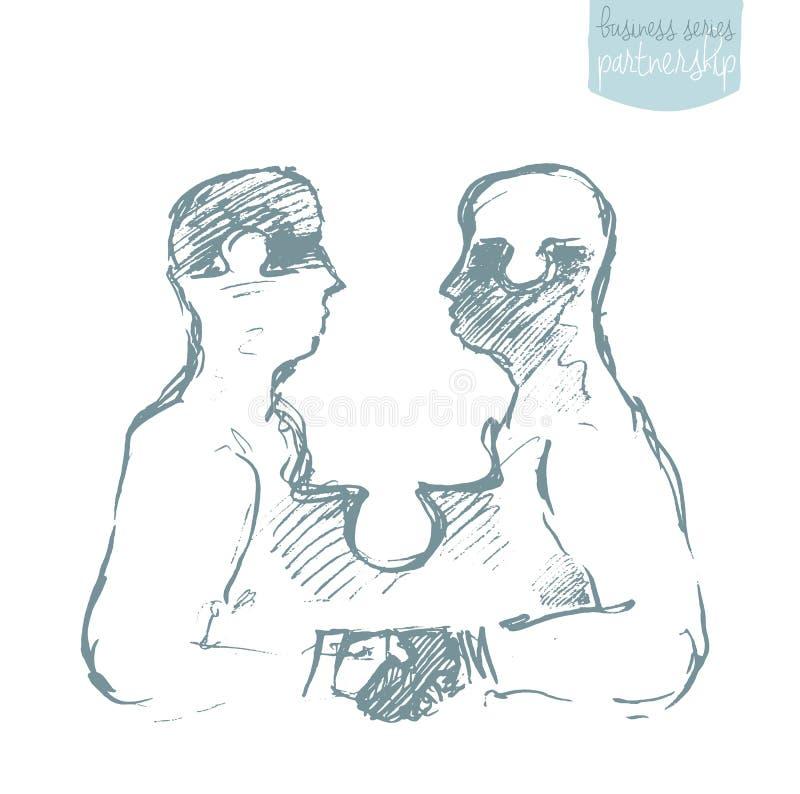 Vector de la sociedad de dos hombres de negocios del rompecabezas stock de ilustración