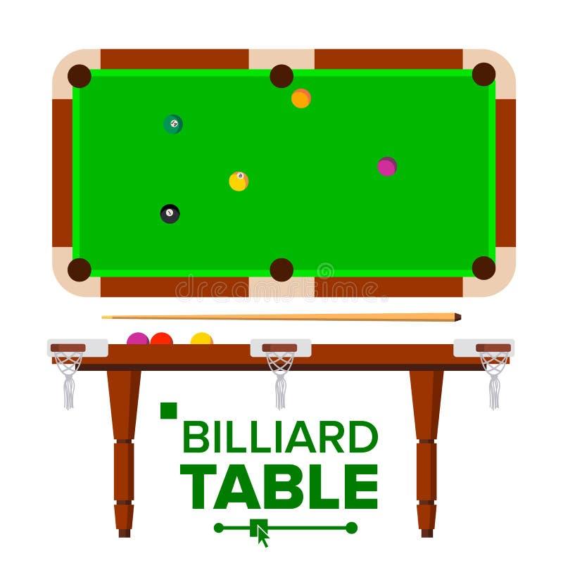 Vector de la tabla de billar Top, vista lateral Piscina clásica verde, tabla de billar Ejemplo plano aislado stock de ilustración