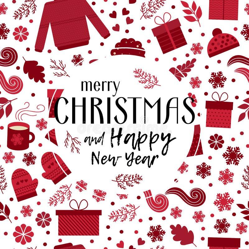 Vector de la tarjeta de felicitación de la Navidad stock de ilustración